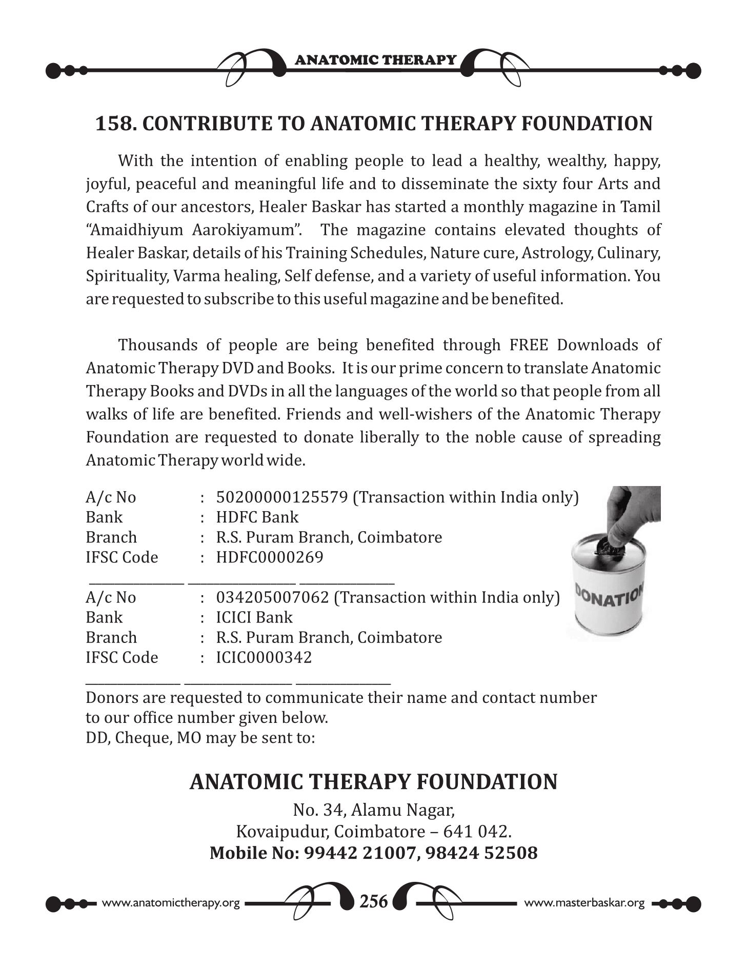 158. CONTRIBUTE TO ANATOMIC THERAPY FOUNDATION - fresh2refresh.com